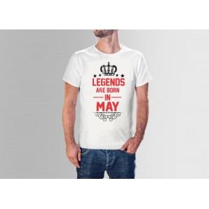 Tricou imprimat DTG Legends are born in May