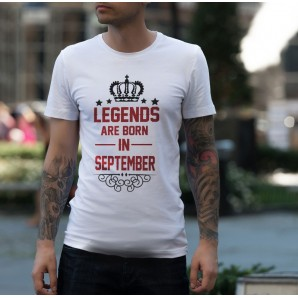 Tricou imprimat DTG Legends are born in September