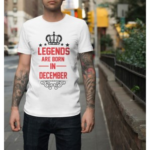 Tricou imprimat DTG Legends are born in December