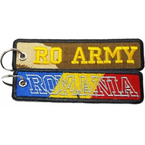 Breloc textil brodat RO ARMY